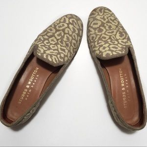 Stubbs and Wootton   sand leopard print loafers